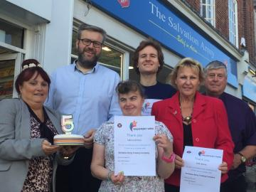 Maldon's Salvation Army charity shop celebrates as five volunteers mark five years of service